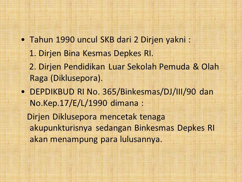 Tahun 1990 uncul SKB dari 2 Dirjen yakni :