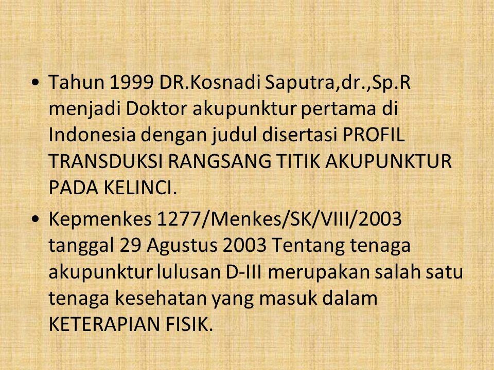 Tahun 1999 DR. Kosnadi Saputra,dr. ,Sp