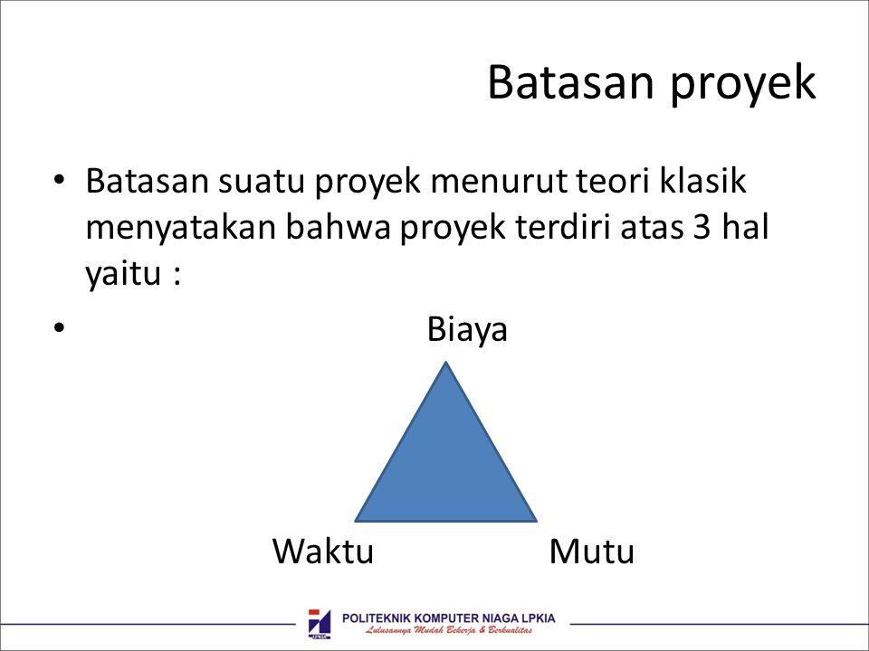Batasan proyek Batasan suatu proyek menurut teori klasik menyatakan bahwa proyek terdiri atas 3 hal yaitu :