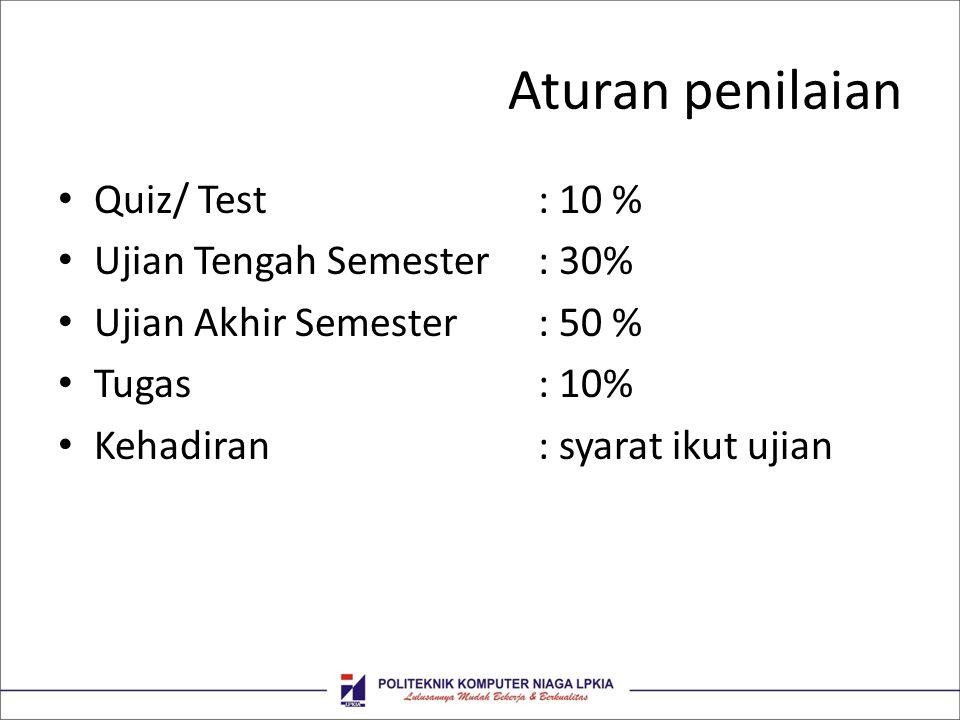 Aturan penilaian Quiz/ Test : 10 % Ujian Tengah Semester : 30%
