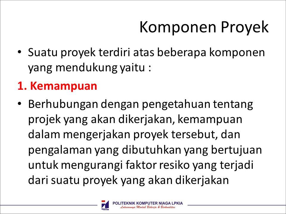 Komponen Proyek Suatu proyek terdiri atas beberapa komponen yang mendukung yaitu : 1. Kemampuan.