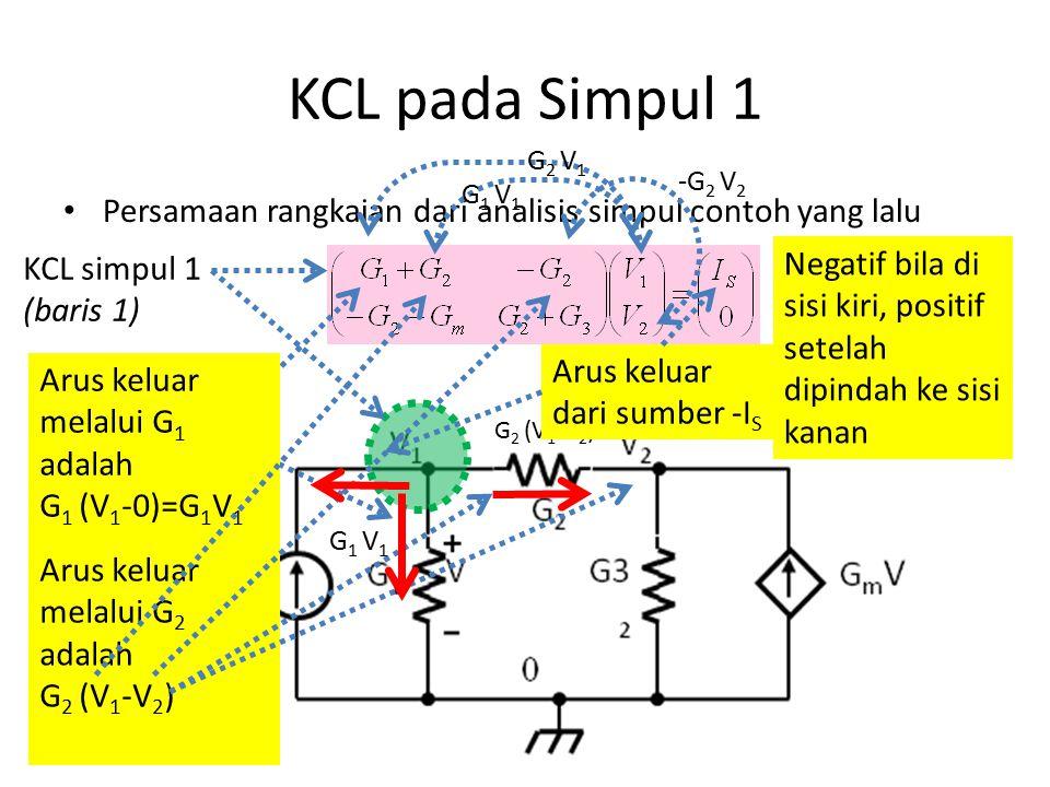 KCL pada Simpul 1 G2 V1. -G2 V2. G1 V1. Persamaan rangkaian dari analisis simpul contoh yang lalu.