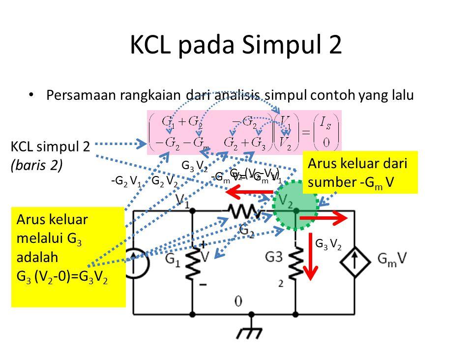 KCL pada Simpul 2 Persamaan rangkaian dari analisis simpul contoh yang lalu. KCL simpul 2 (baris 2)