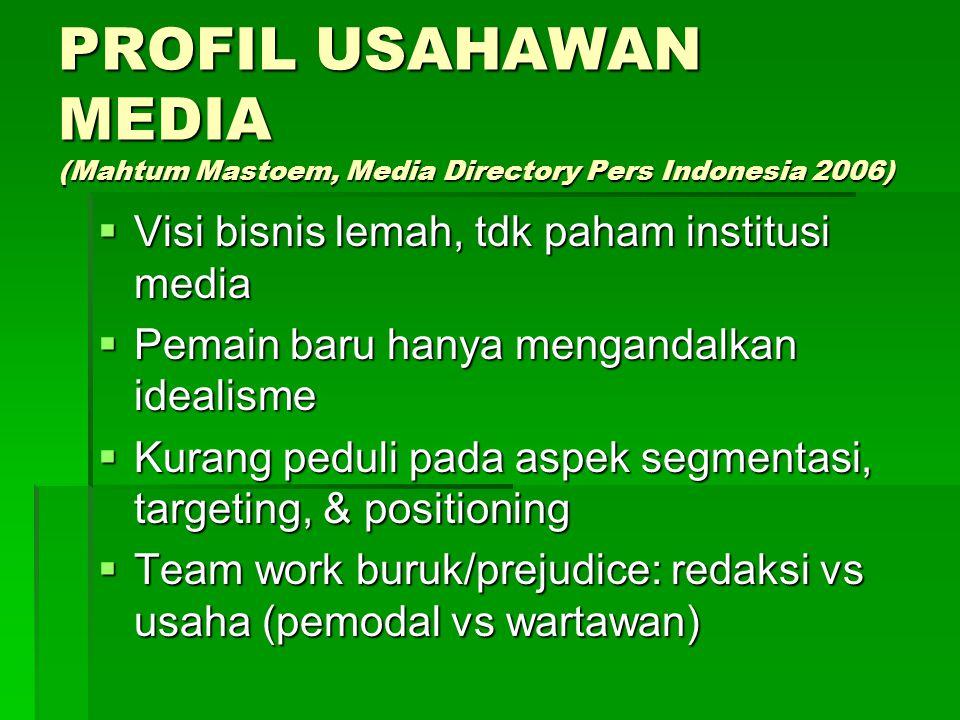 PROFIL USAHAWAN MEDIA (Mahtum Mastoem, Media Directory Pers Indonesia 2006)