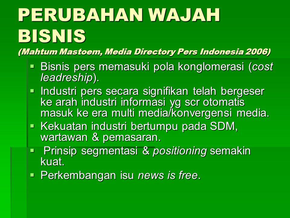 PERUBAHAN WAJAH BISNIS (Mahtum Mastoem, Media Directory Pers Indonesia 2006)