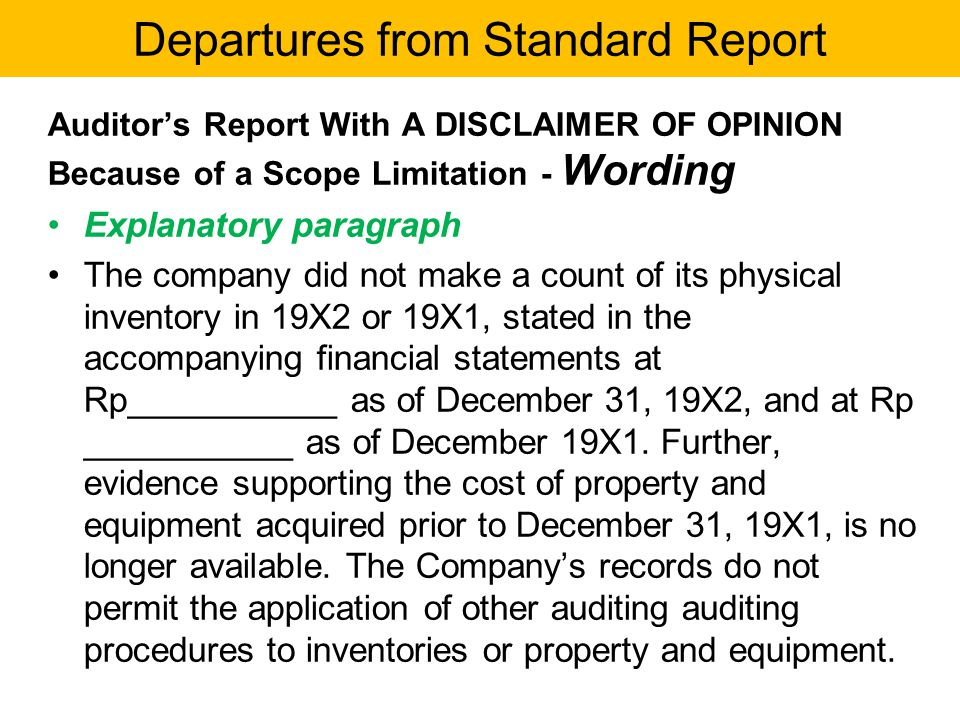 Departures from Standard Report