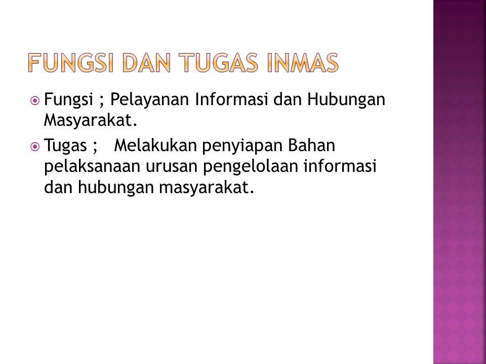 FUNGSI DAN TUGAS INMAS Fungsi ; Pelayanan Informasi dan Hubungan Masyarakat.
