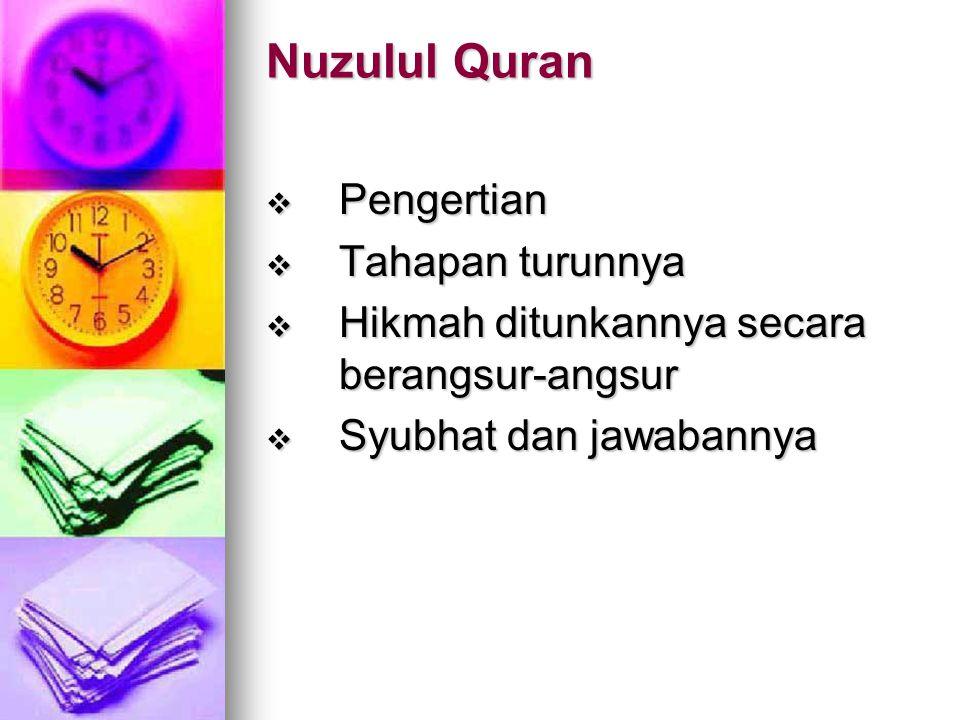 Nuzulul Quran Pengertian Tahapan turunnya