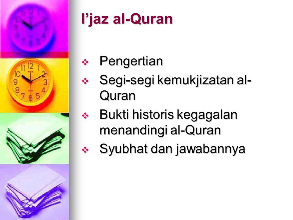 I'jaz al-Quran Pengertian Segi-segi kemukjizatan al-Quran