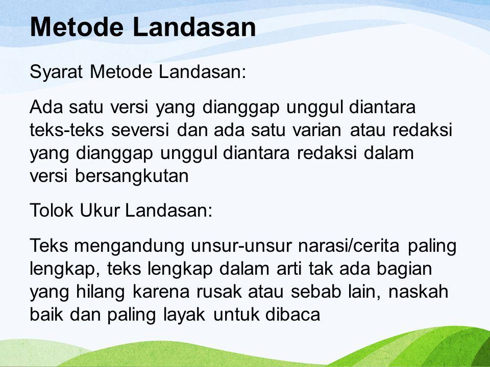 Metode Landasan
