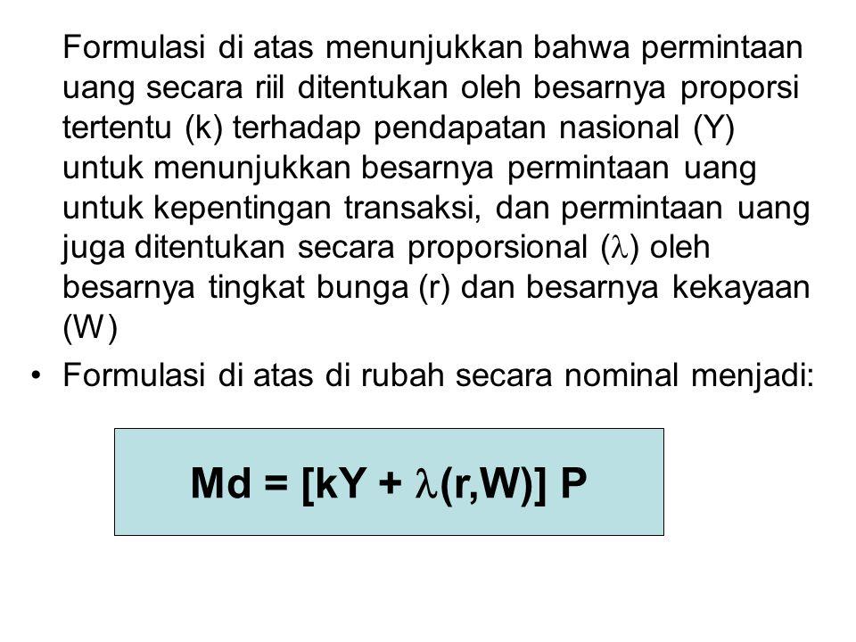 Formulasi di atas menunjukkan bahwa permintaan uang secara riil ditentukan oleh besarnya proporsi tertentu (k) terhadap pendapatan nasional (Y) untuk menunjukkan besarnya permintaan uang untuk kepentingan transaksi, dan permintaan uang juga ditentukan secara proporsional () oleh besarnya tingkat bunga (r) dan besarnya kekayaan (W)