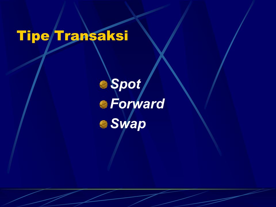 Tipe Transaksi Spot Forward Swap