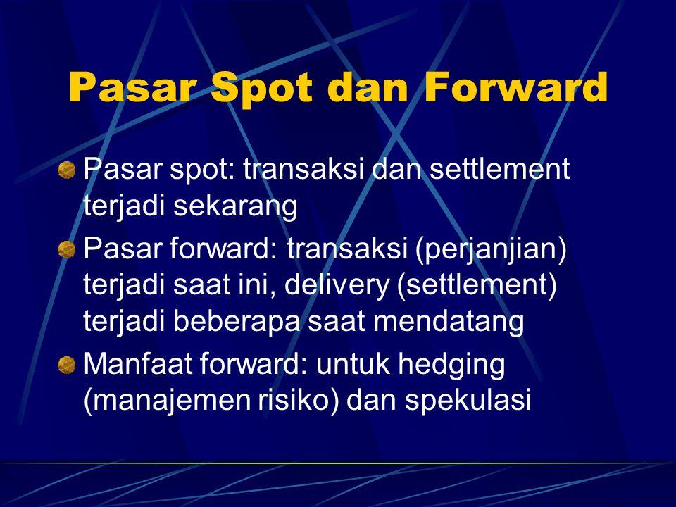 Pasar Spot dan Forward Pasar spot: transaksi dan settlement terjadi sekarang.