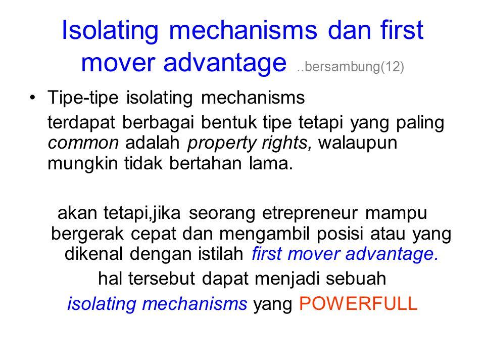Isolating mechanisms dan first mover advantage ..bersambung(12)