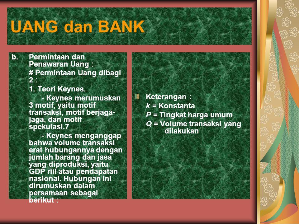 UANG dan BANK b. Permintaan dan Penawaran Uang :