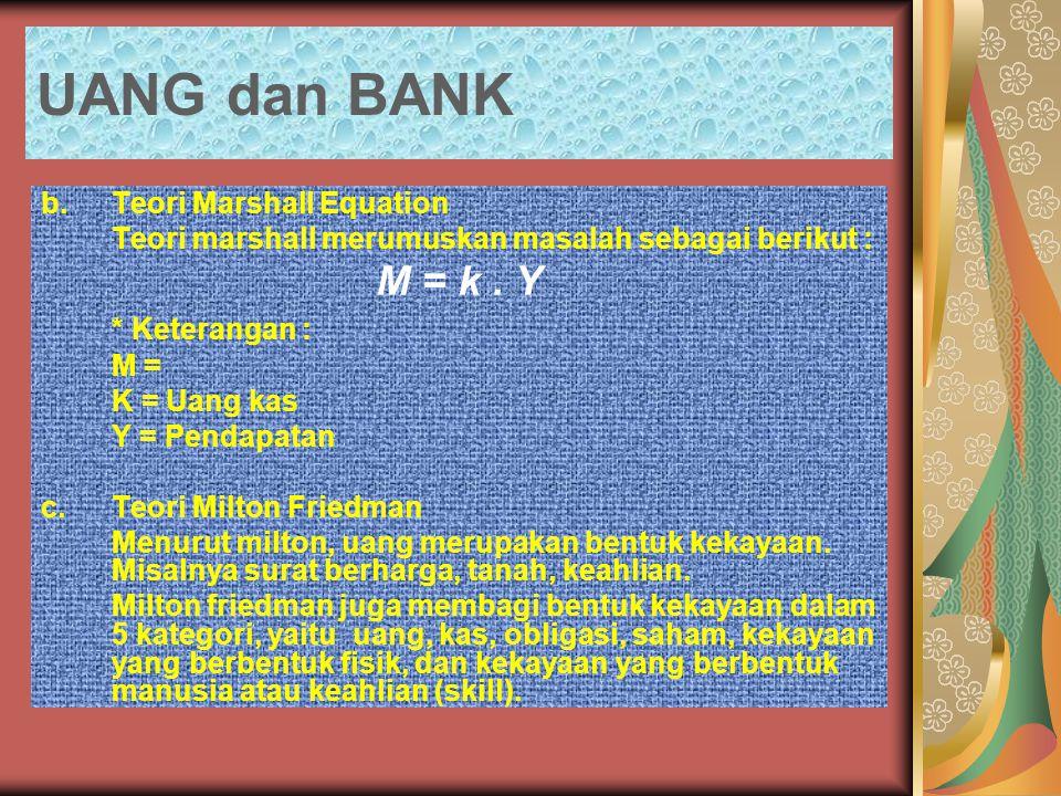 UANG dan BANK M = k . Y * Keterangan : b. Teori Marshall Equation