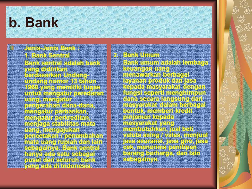 b. Bank Jenis-Jenis Bank : 1. Bank Sentral