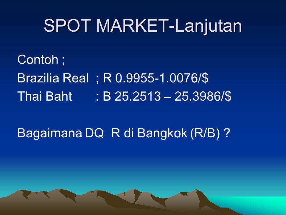 SPOT MARKET-Lanjutan Contoh ; Brazilia Real ; R 0.9955-1.0076/$