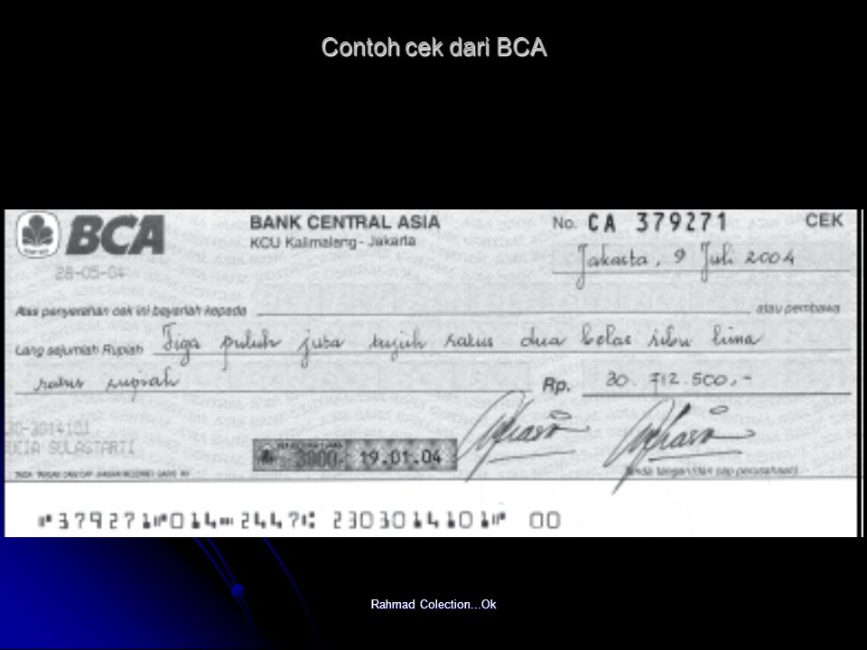 Contoh cek dari BCA Rahmad Colection...Ok