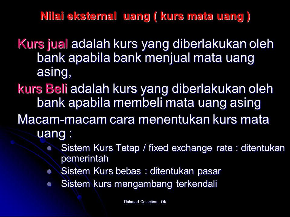 Nilai eksternal uang ( kurs mata uang )