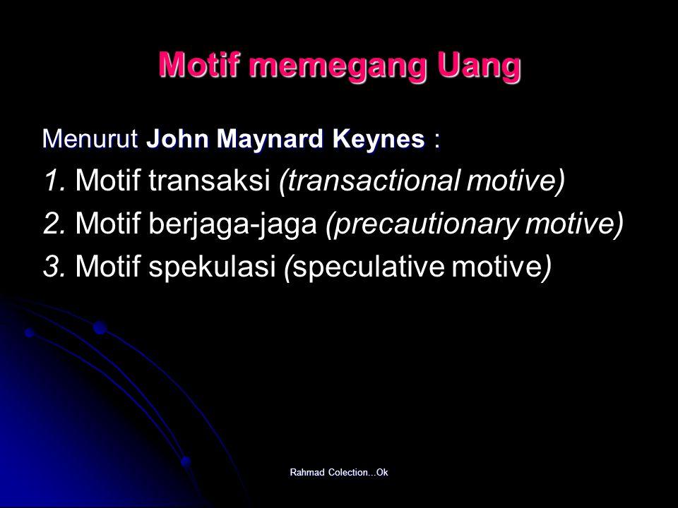 Motif memegang Uang 1. Motif transaksi (transactional motive)