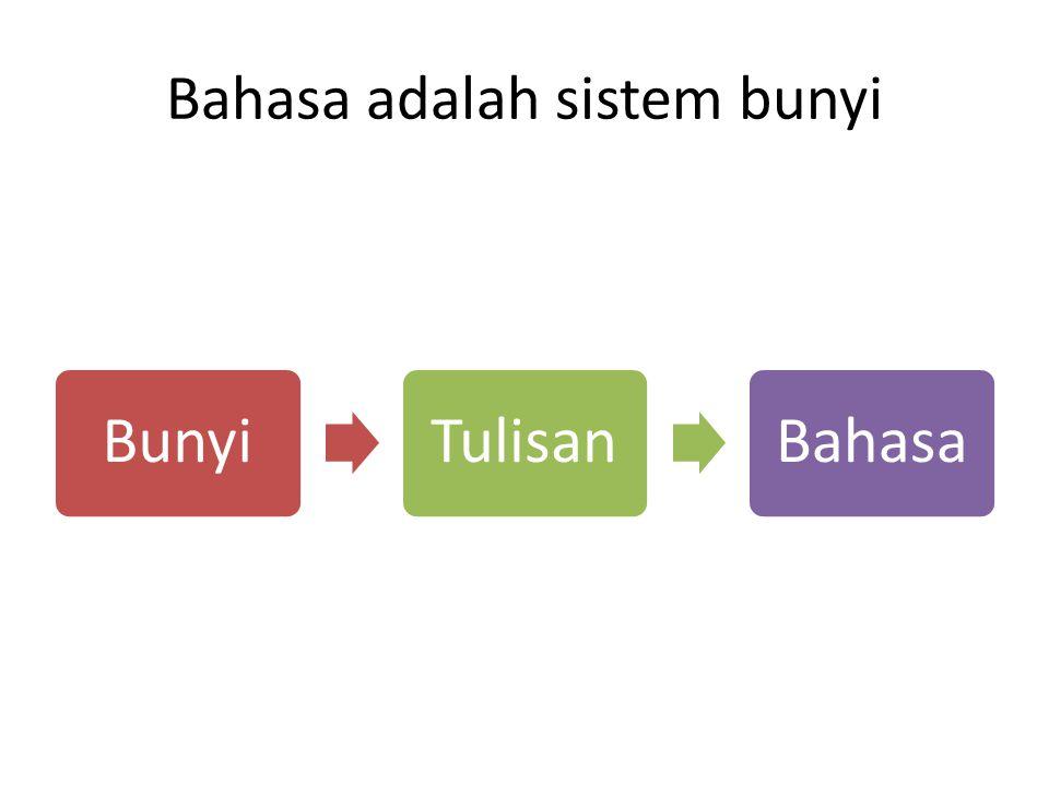 Bahasa adalah sistem bunyi