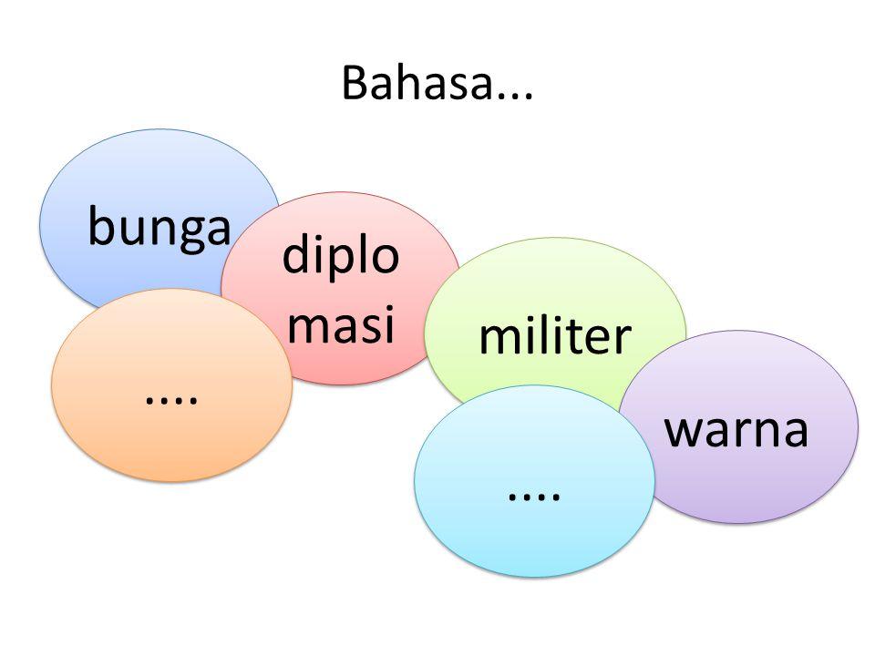 Bahasa... bunga diplomasi militer .... warna ....
