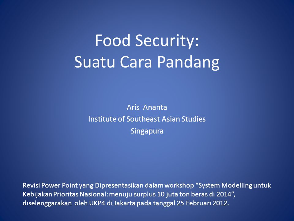 Food Security: Suatu Cara Pandang