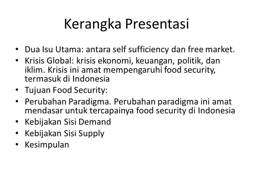 Kerangka Presentasi Dua Isu Utama: antara self sufficiency dan free market.