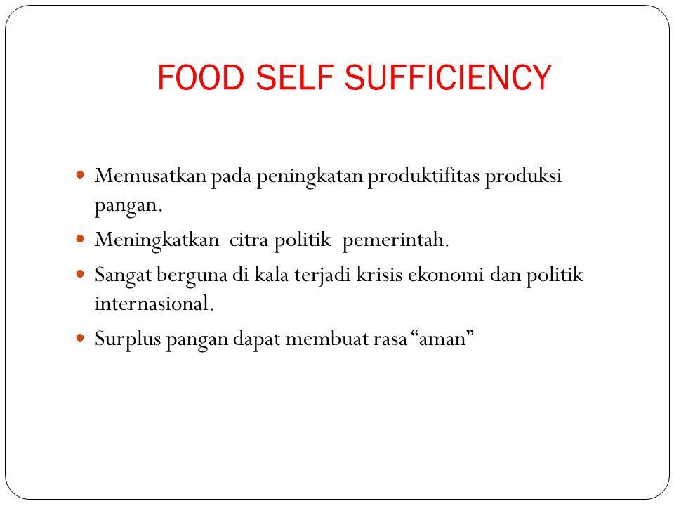 FOOD SELF SUFFICIENCY Memusatkan pada peningkatan produktifitas produksi pangan. Meningkatkan citra politik pemerintah.
