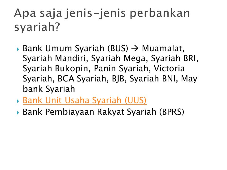 Apa saja jenis-jenis perbankan syariah
