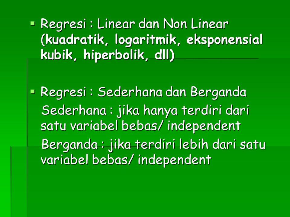 Regresi : Linear dan Non Linear (kuadratik, logaritmik, eksponensial kubik, hiperbolik, dll)