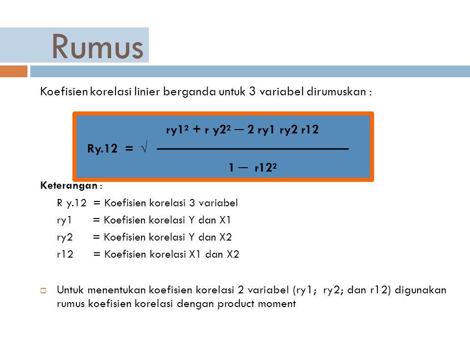Rumus Koefisien korelasi linier berganda untuk 3 variabel dirumuskan : ry1² + r y2² ─ 2 ry1 ry2 r12.