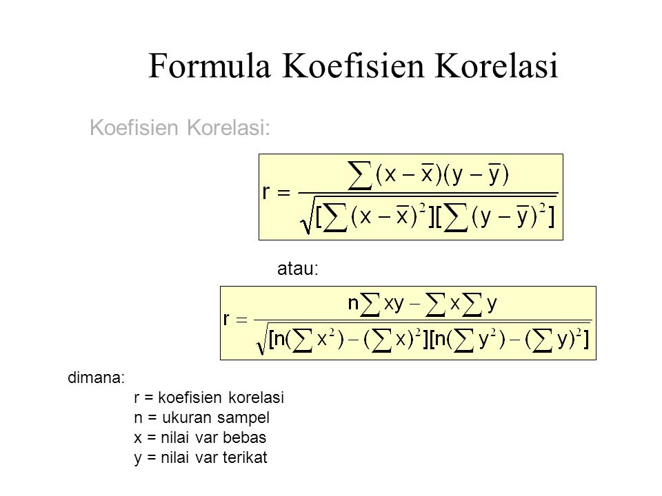Formula Koefisien Korelasi