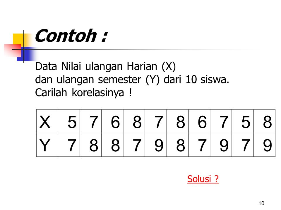 Contoh : X 5 7 6 8 Y 9 Data Nilai ulangan Harian (X)