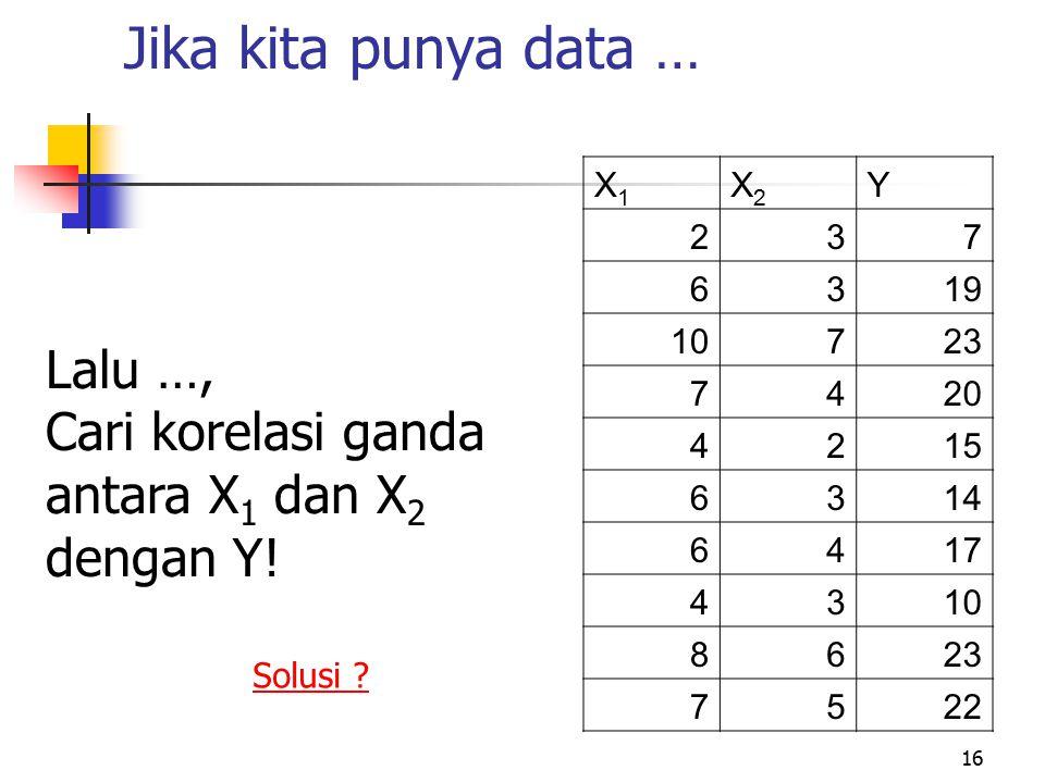 Jika kita punya data … Lalu …, Cari korelasi ganda antara X1 dan X2