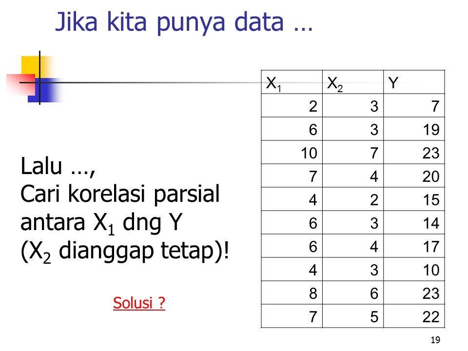 Jika kita punya data … Lalu …, Cari korelasi parsial antara X1 dng Y