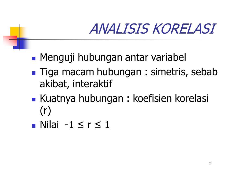 ANALISIS KORELASI Menguji hubungan antar variabel