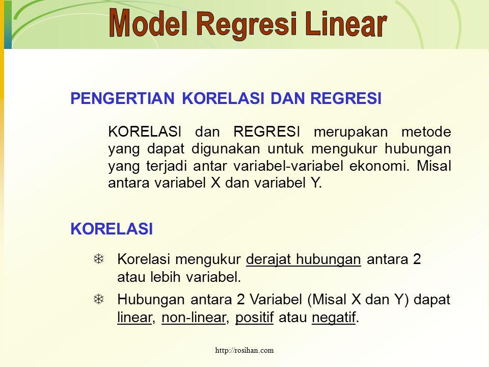 Model Regresi Linear PENGERTIAN KORELASI DAN REGRESI KORELASI