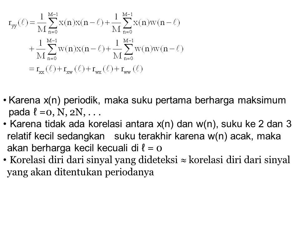 Karena x(n) periodik, maka suku pertama berharga maksimum pada ℓ =0, N, 2N, . . .