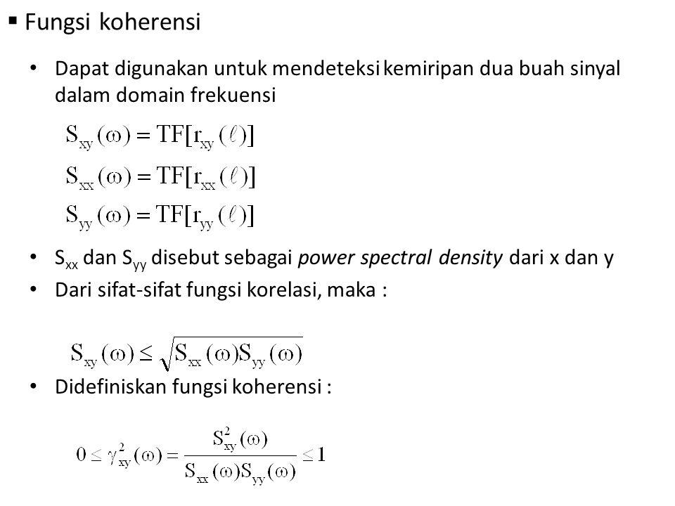 Fungsi koherensi Dapat digunakan untuk mendeteksi kemiripan dua buah sinyal dalam domain frekuensi.
