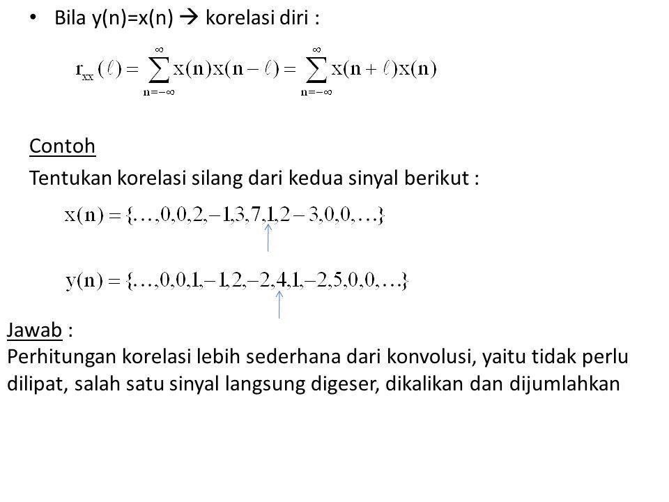 Bila y(n)=x(n)  korelasi diri :