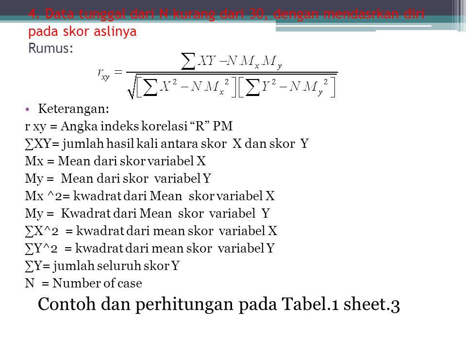 Contoh dan perhitungan pada Tabel.1 sheet.3