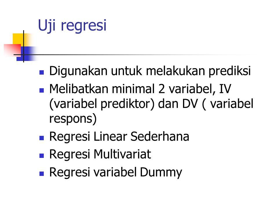 Uji regresi Digunakan untuk melakukan prediksi