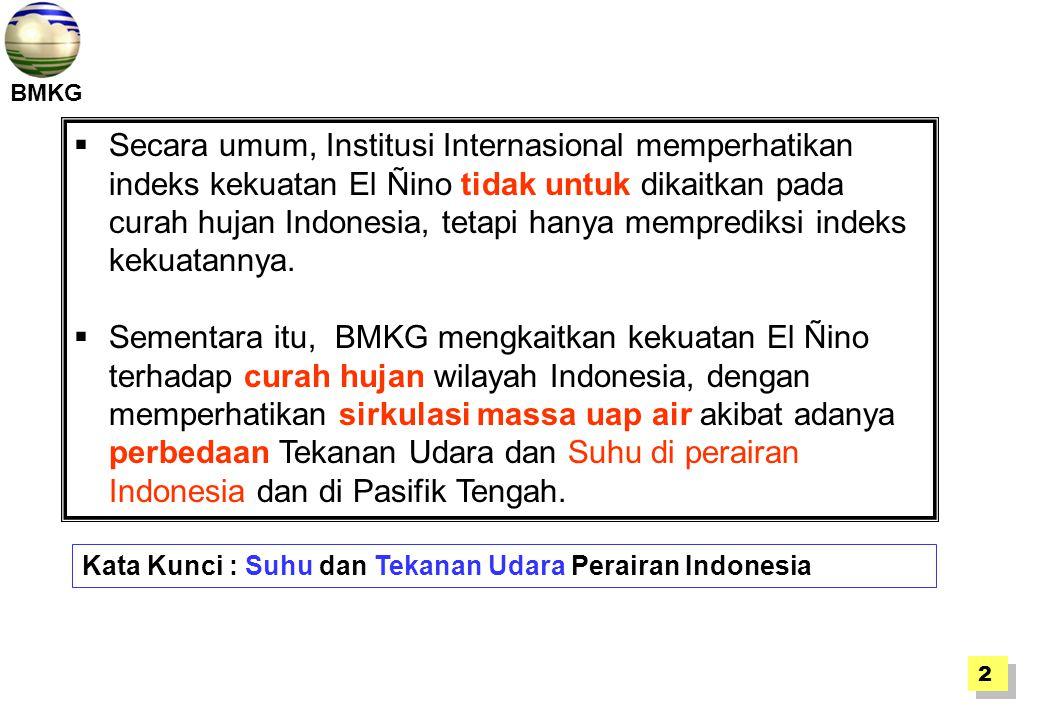 Secara umum, Institusi Internasional memperhatikan indeks kekuatan El Ñino tidak untuk dikaitkan pada curah hujan Indonesia, tetapi hanya memprediksi indeks kekuatannya.