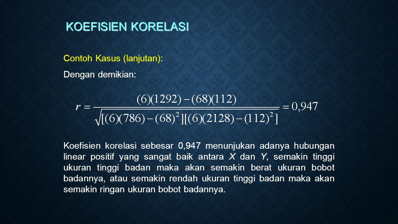 KOEFISIEN KORELASI Contoh Kasus (lanjutan): Dengan demikian: