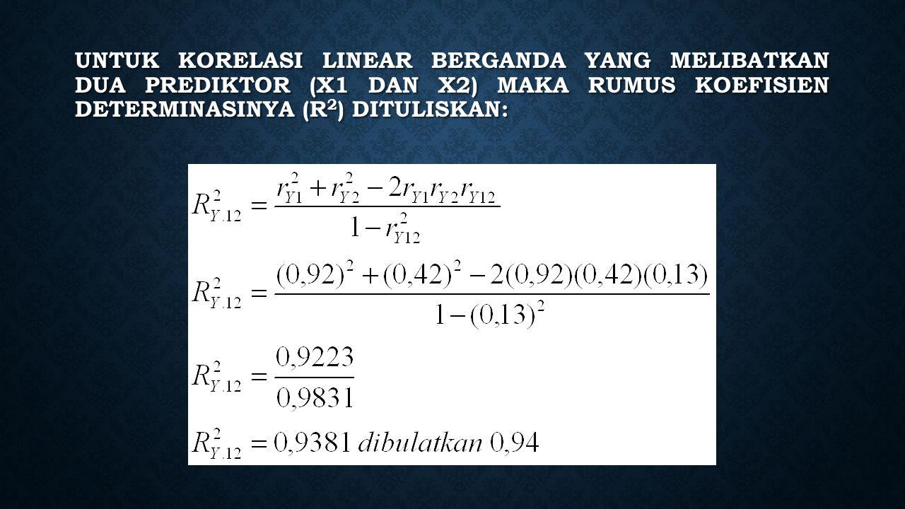 Untuk korelasi linear berganda yang melibatkan dua prediktor (X1 dan X2) maka rumus koefisien determinasinya (R2) dituliskan: