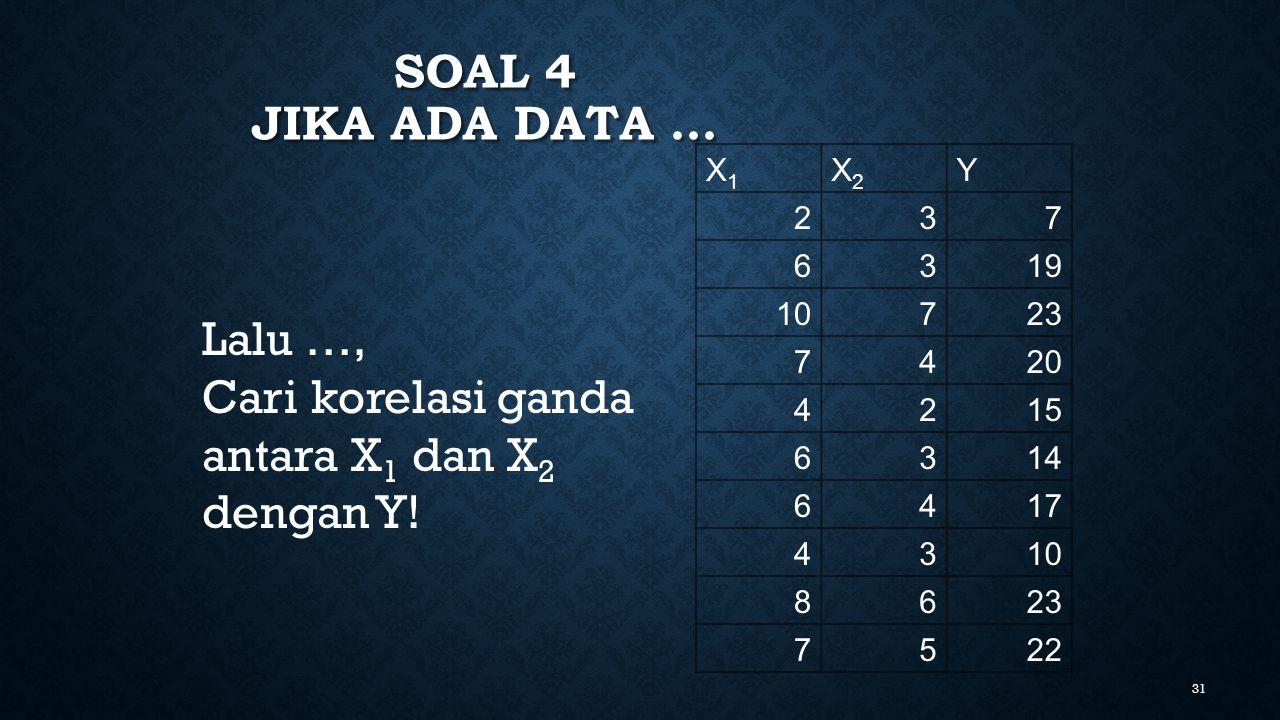 Soal 4 jika ada data … Lalu …, Cari korelasi ganda antara X1 dan X2