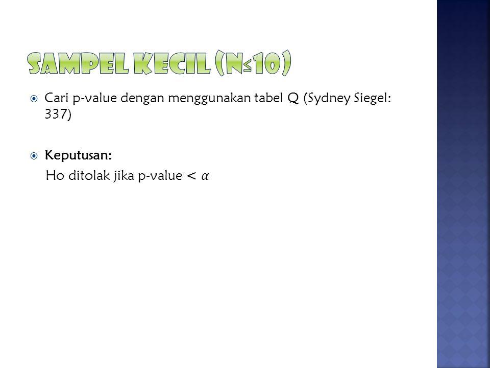 Sampel Kecil (N≤10) Cari p-value dengan menggunakan tabel Q (Sydney Siegel: 337) Keputusan: Ho ditolak jika p-value < 𝛼.