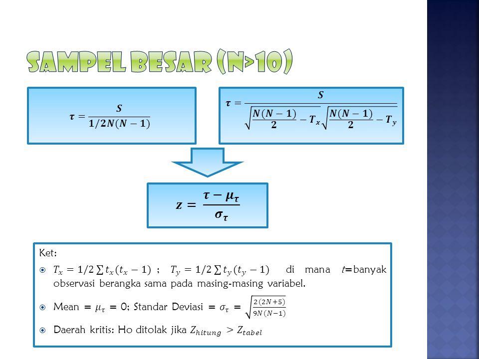 SAMPEL BESAR (N>10) 𝒛= 𝝉− 𝝁 𝝉 𝝈 𝝉
